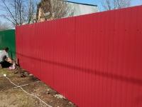 Забор под ключ из профлиста СС10 0,5мм RAL3005 установлен с. Покровка