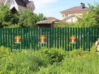 Забор из металлического штакетника RAL 6005 под ключ (Сухая Самарка ул. Заречная) - 21 метр